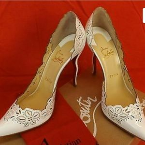 NIB LOUBOUTIN BELOVED 120 WHITE LASER CUT PATENT L